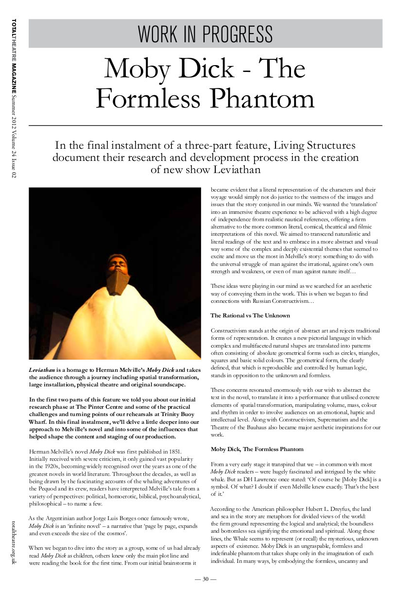 Issue 24/2   Total Theatre Magazine Print Archive