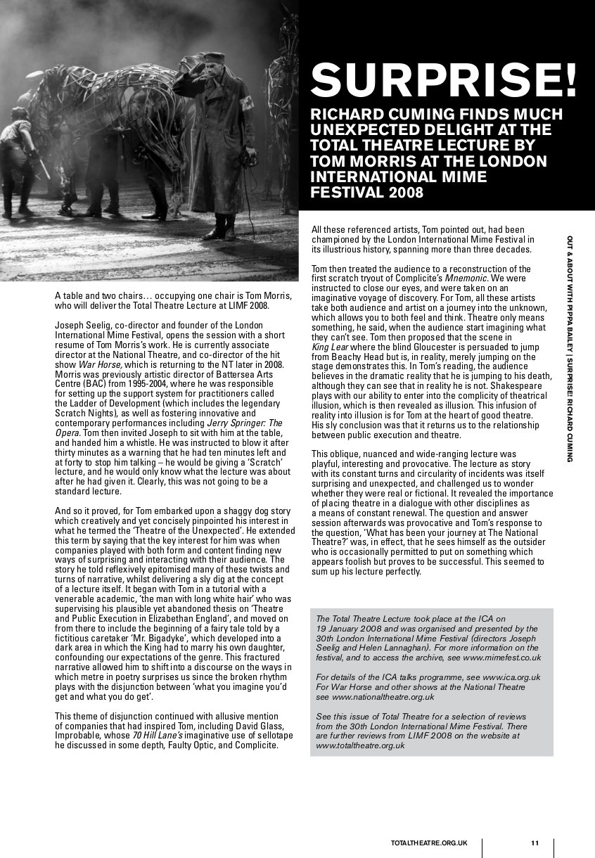 Surprise! | Total Theatre Magazine Print Archive
