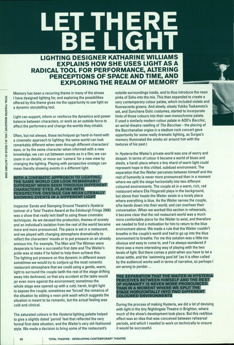 Let There Be Light   Total Theatre Magazine Print Archive