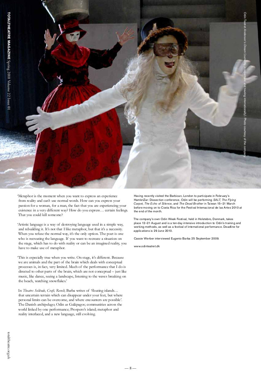 Prospero's Island   Total Theatre Magazine Print Archive