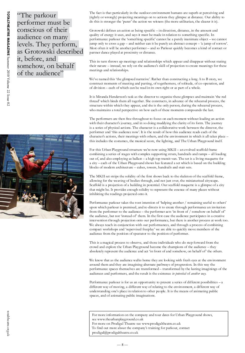 Performance Parkour | Total Theatre Magazine Print Archive
