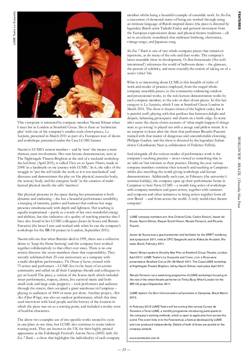 LUME Teatro | Total Theatre Magazine Print Archive
